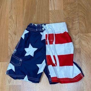 3/$20 - Toddler American flag swim trunks